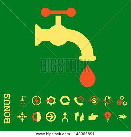 Water Tap glyph bicolor icon. Image style is a flat pictogram symbol, orange and yellow colors, green background.