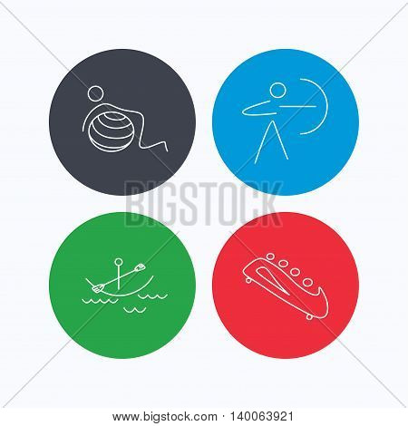 Gymnastics, boating and archery icons. Bobsled linear sign. Linear icons on colored buttons. Flat web symbols. Vector