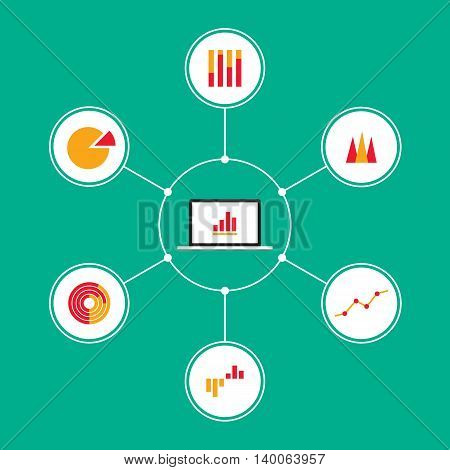 Set of infographic business charts flat design vector illustration design elements
