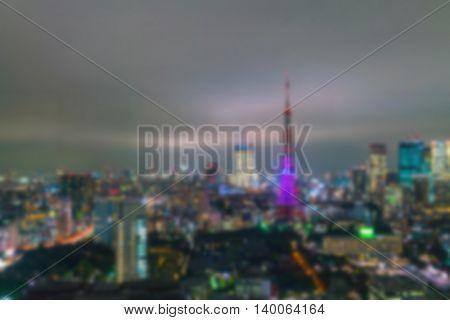 Abstract blur Aerial view bokeh lights, Tokyo city, Japan