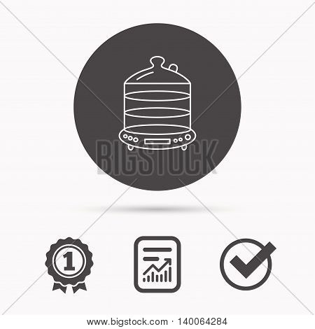 Steamer icon. Kitchen electric tool sign. Report document, winner award and tick. Round circle button with icon. Vector