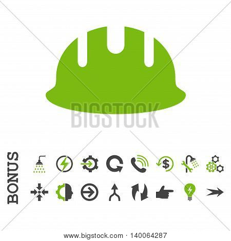 Builder Hardhat glyph bicolor icon. Image style is a flat pictogram symbol, eco green and gray colors, white background.