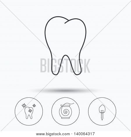 Tooth, healthy teeth and dental implant icons. Dental floss linear sign. Linear icons in circle buttons. Flat web symbols. Vector
