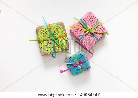 Preparation for the holiday. Gifts wrapped in colorful paper.