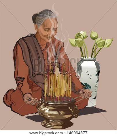 Woman praying in a buddhist temple - vector illustration
