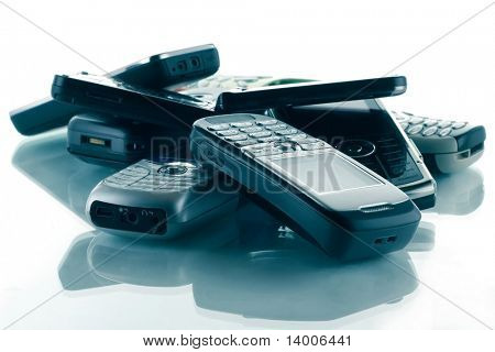 Heap of blue toned phones