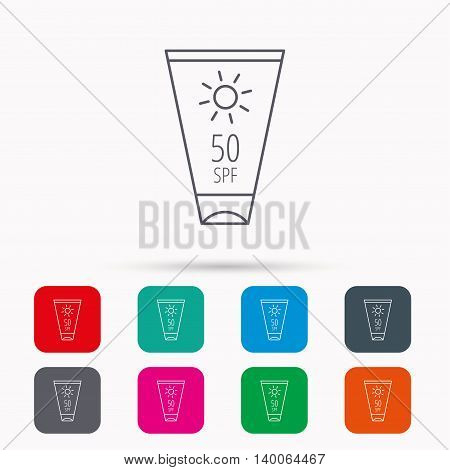 Sun cream container icon. Beach lotion sign. Linear icons in squares on white background. Flat web symbols. Vector
