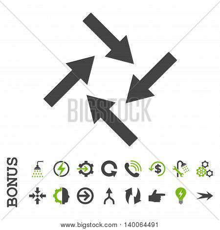 Centripetal Arrows glyph bicolor icon. Image style is a flat pictogram symbol, eco green and gray colors, white background.