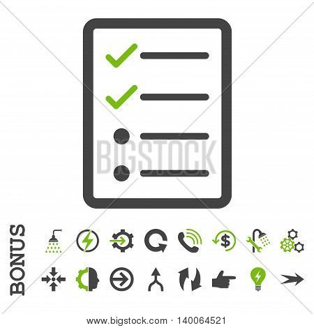 Checklist Page glyph bicolor icon. Image style is a flat iconic symbol, eco green and gray colors, white background.