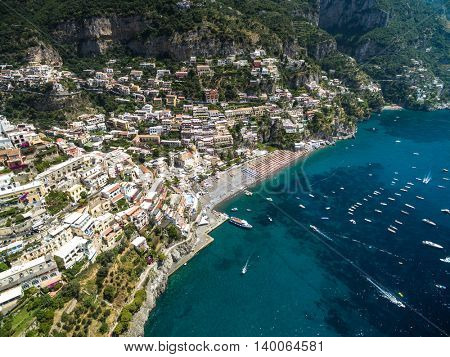 Aerial View of Positano, Amalfi Coast, Italy