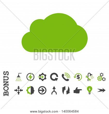 Cloud glyph bicolor icon. Image style is a flat pictogram symbol, eco green and gray colors, white background.