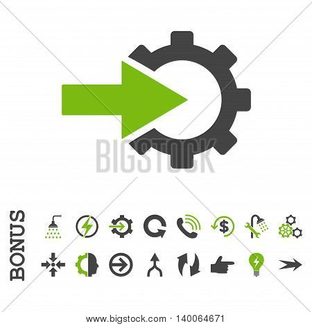 Cog Integration glyph bicolor icon. Image style is a flat pictogram symbol, eco green and gray colors, white background.