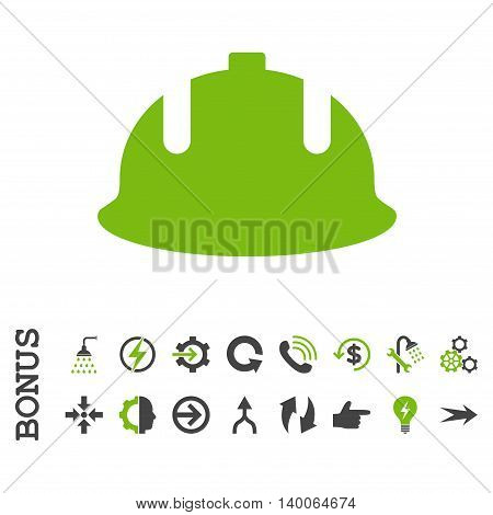 Construction Helmet glyph bicolor icon. Image style is a flat pictogram symbol, eco green and gray colors, white background.