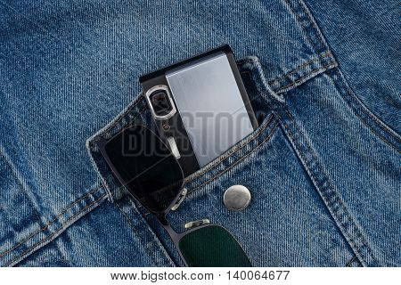 camera in a jeans pocket. camera in a jeans pocket.