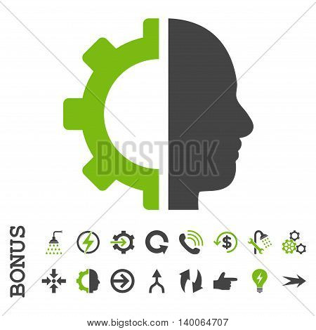 Cyborg Gear glyph bicolor icon. Image style is a flat pictogram symbol, eco green and gray colors, white background.