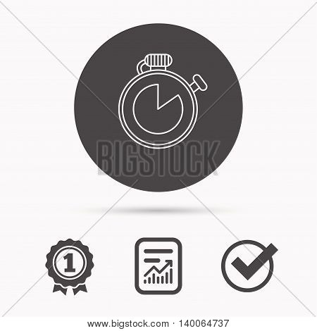 Timer icon. Stopwatch sign. Sport competition symbol. Report document, winner award and tick. Round circle button with icon. Vector