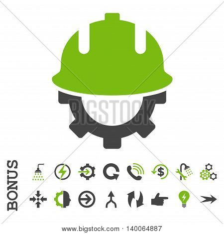 Development Helmet glyph bicolor icon. Image style is a flat iconic symbol, eco green and gray colors, white background.