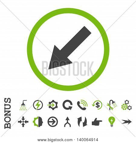 Down-Left Rounded Arrow glyph bicolor icon. Image style is a flat pictogram symbol, eco green and gray colors, white background.