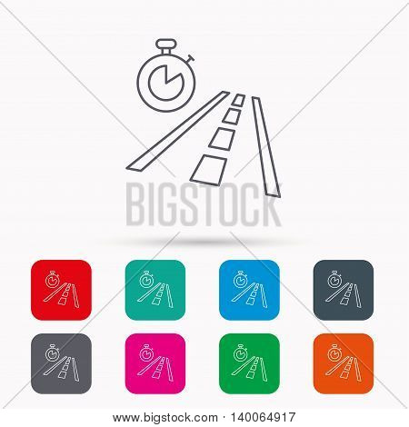 Travel time icon. Road with timer sign. Linear icons in squares on white background. Flat web symbols. Vector