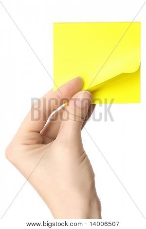 Blank paper reminder in hand