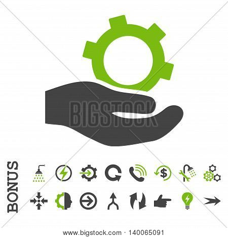 Engineering Service glyph bicolor icon. Image style is a flat pictogram symbol, eco green and gray colors, white background.