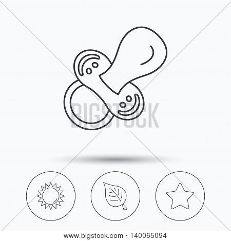 Leaf, star and sun icons. Pacifier linear sign. Linear icons in circle buttons. Flat web symbols. Vector