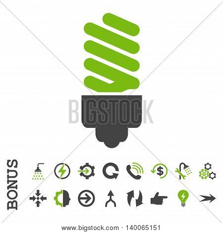 Fluorescent Bulb glyph bicolor icon. Image style is a flat pictogram symbol, eco green and gray colors, white background.