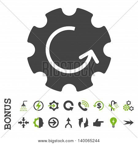 Gear Rotation glyph bicolor icon. Image style is a flat iconic symbol, eco green and gray colors, white background.