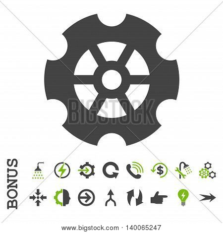 Gear glyph bicolor icon. Image style is a flat pictogram symbol, eco green and gray colors, white background.