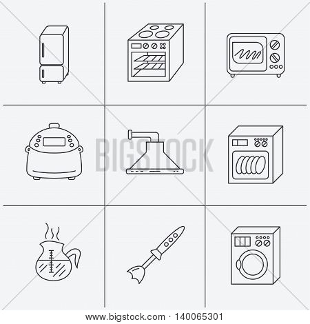 Microwave oven, washing machine and blender icons. Refrigerator fridge, dishwasher and multicooker linear signs. Coffee icon. Linear icons on white background. Vector