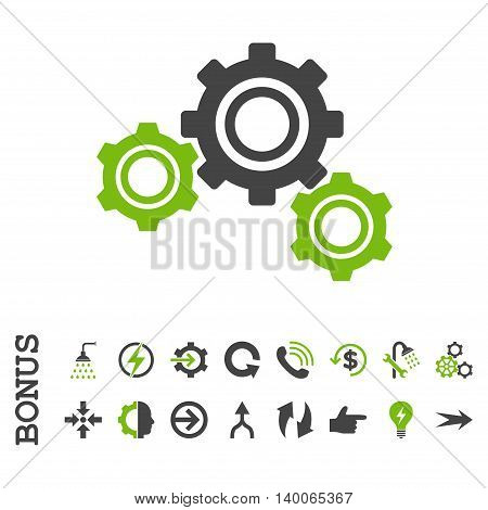 Gears glyph bicolor icon. Image style is a flat pictogram symbol, eco green and gray colors, white background.