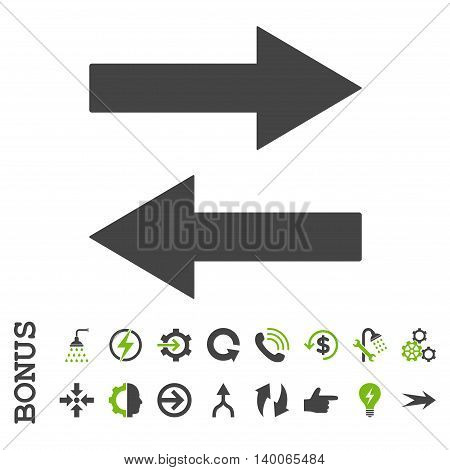 Horizontal Flip Arrows glyph bicolor icon. Image style is a flat iconic symbol, eco green and gray colors, white background.