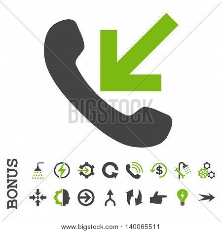 Incoming Call glyph bicolor icon. Image style is a flat pictogram symbol, eco green and gray colors, white background.
