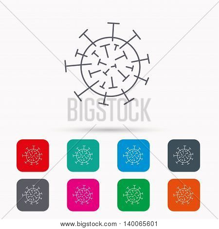 Virus icon. Molecular cell sign. Biology organism symbol. Linear icons in squares on white background. Flat web symbols. Vector