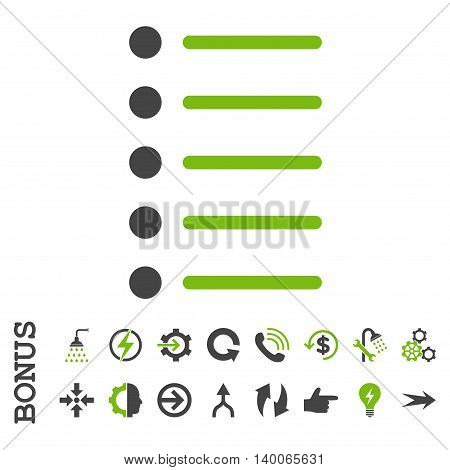 Items glyph bicolor icon. Image style is a flat iconic symbol, eco green and gray colors, white background.