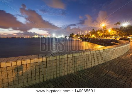 Sunrise view with bench in Esplanade, George Town, Penang, Malaysia