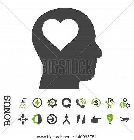 Lover Head glyph bicolor icon. Image style is a flat pictogram symbol, eco green and gray colors, white background.