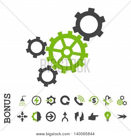 Mechanism glyph bicolor icon. Image style is a flat pictogram symbol, eco green and gray colors, white background.