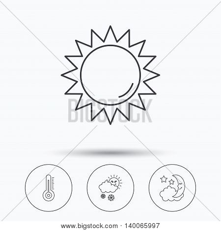 Thermometer, sun and snow icons. Moon night linear sign. Linear icons in circle buttons. Flat web symbols. Vector