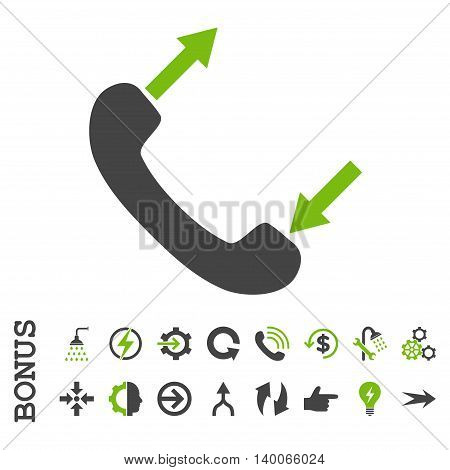 Phone Talking glyph bicolor icon. Image style is a flat iconic symbol, eco green and gray colors, white background.