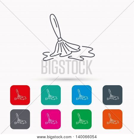 Wet cleaning icon. Clean-up floor tool sign. Linear icons in squares on white background. Flat web symbols. Vector