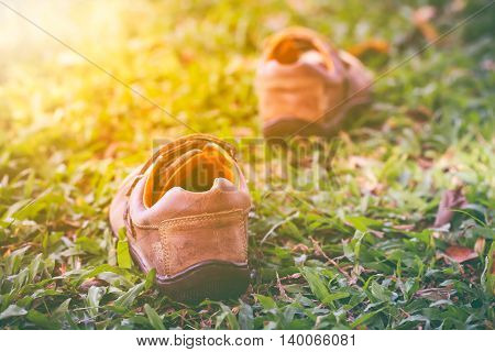 Closeup of a pair of leather shoes on green grass with bright sunlight shallow depth of field (dof) selective focus.