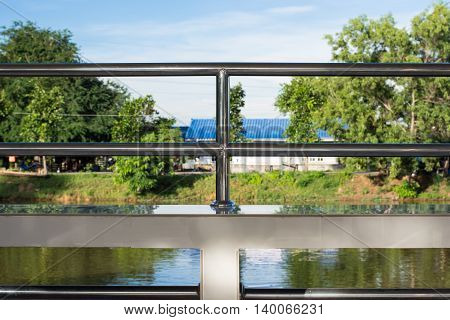 Stainless steel railing modern, closeup, iron, pipe