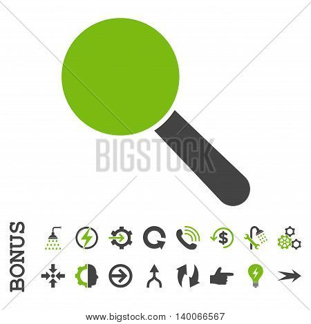 Search Tool glyph bicolor icon. Image style is a flat iconic symbol, eco green and gray colors, white background.