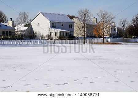 Fresh snow in a residential area of Joliet, Illinois during November.