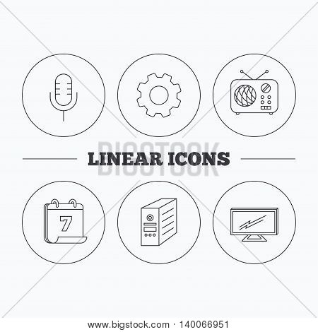 TV, retro radio and microphone icons. PC case linear sign. Flat cogwheel and calendar symbols. Linear icons in circle buttons. Vector