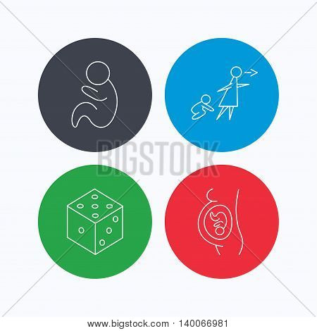 Pregnancy, paediatrics and dice icons. Unattended linear sign. Linear icons on colored buttons. Flat web symbols. Vector