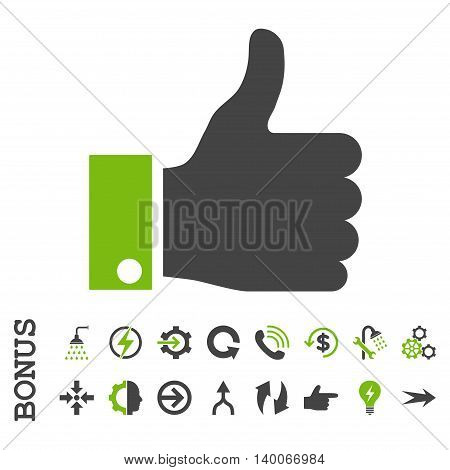 Thumb Up glyph bicolor icon. Image style is a flat iconic symbol, eco green and gray colors, white background.