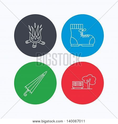 Bonfire, umbrella and hiking boots icons. Park linear sign. Linear icons on colored buttons. Flat web symbols. Vector