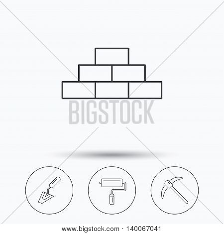 Brickwork, spatula and mining icons. Paint roller linear sign. Linear icons in circle buttons. Flat web symbols. Vector